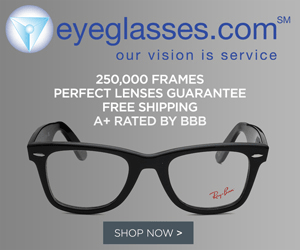 eyeglasses.com SM our vision is service 250,000 FRAMES ERFECT LENSES GUARANTEE FREE SHIPPING A+ RATED BY BBB SHOP NOW