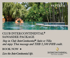 PATTAYA CLUB INTERCONTINENTAL SAWASDEE PACKAGE Stay in Club InterContinental Suite or Villa and enjoy Thai massage and THB 3,500 FOB credit. BOOK NOW INTERCONTINENTAL Live the InterContinental life. PATTATA RESOAT