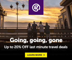 Going, going, gone Up to 20% OFF last minute travel deals LEARN MORE
