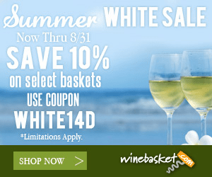 Summer WHITE SALE Now Thru 8/31 SAVE 10% on select baskets USE COUPON WHITE14D Limitations Apply. winebasket www SHOP NOW