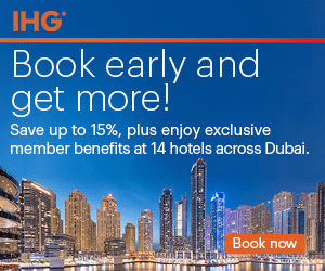 IHG Book early and get more! Save up to 15%, plus enjoy exclusive member benefits at 14 hotels across Dubai. Book now
