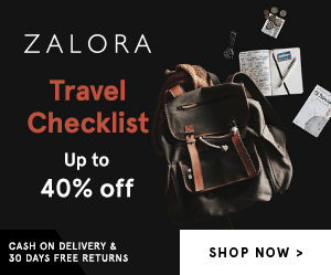 ZALORA Travel Checklist Up to 40% off CASH ON DELIVERY & SHOP NOW 30 DAYS FREE RETURNS