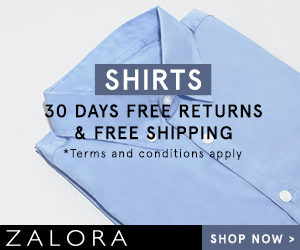 SHIRTS 30 DAYS FREE RETURNS & FREE SHIPPING Terms and conditions apply ZALORA SHOP NOW>