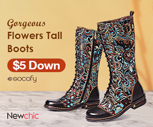 Gergeous Flowers Tall Boots $5 Down eeocofy Newchic