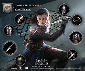 COMMANDER: ARYA STARK K:109X270 Y.290 GAMEOF THRONES WINTER IS COMING E HBO The ofcily ed brewer pare YOcrbo Gtorcade
