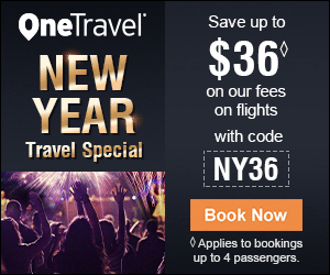 OneTravel Save up to $36 NEW YEAR on our fees on flights with code Travel Special NY36 Book Now O Applies to bookings up to 4 passengers.