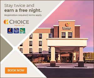 Stay twice and earn a free night. Registration required, terms apply. CCHOICE HOTEL Comfort Su BOOK NOW