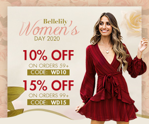 Bellelily ) Women's DAY 2020 10% OFF ON ORDERS 59+ CODE: WD10 15% OFF ON ORDERS 99+ CODE: WD15