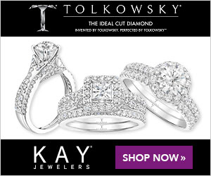 TOLKOWSK Y THE IDEAL CUT DIANMOND WENTED SY TOUOwaY. PERrECTED BY TOUKOWKY KAY SHOP NOW » JEWELERS